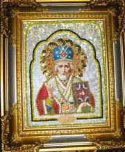 Икона бисерная Св Николая Чудотворца