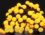 Гирлянда светодиодная нить ШАРИКИ 5 м,  черный кабель(100 Led), желтый