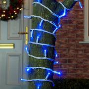 Уличная гирлянда нить синий на белом проводе 10м